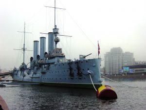 Le croiseur Aurore est un croiseur protégé de classe Pallada de la flotte de la Baltique de la Marine impériale russe