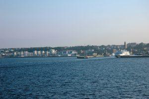 La ville de Elsinborg, photo prise depuis la navette