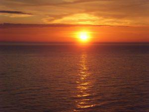 Coucher du soleil peu après le départ de Dublin