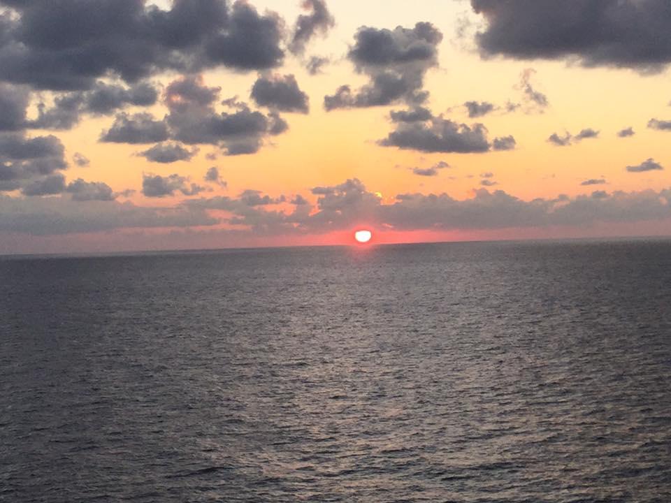Soleil sur la mer en direction de Bonaire