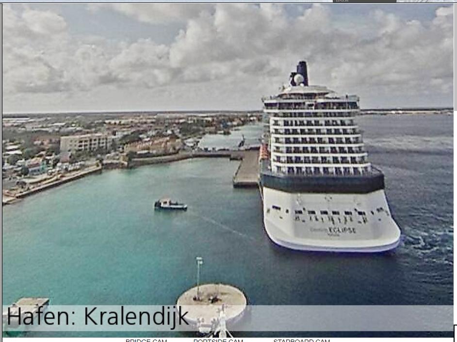 Webcam du pont principale du vaisseau AIDAdiva montrant l'Eclipse au port de Bonaire